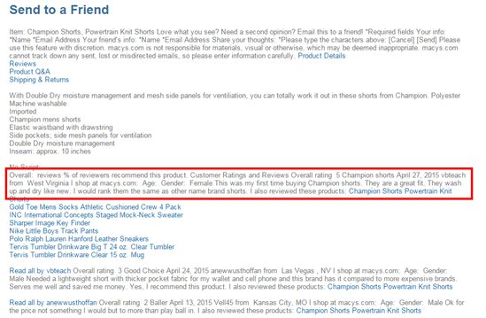 Seo-browser screenshot - Macy's User Reviews