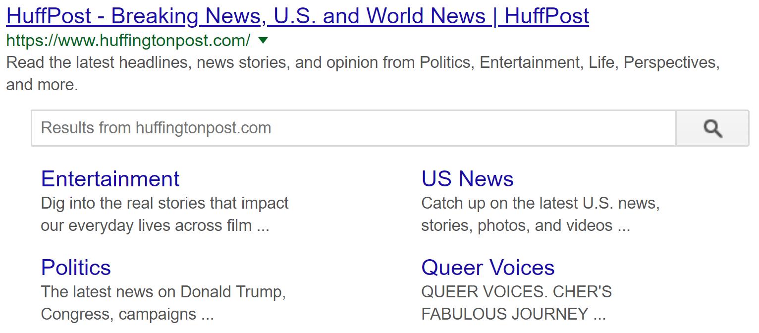 googles sitelinks search box
