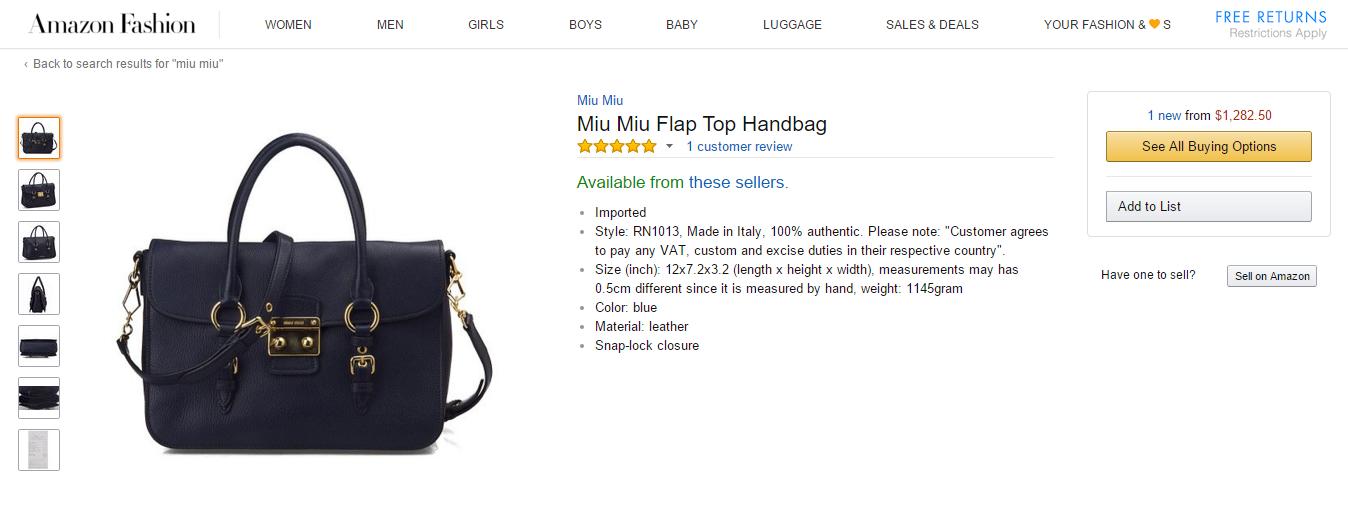 Miu Miu Amazon Listing