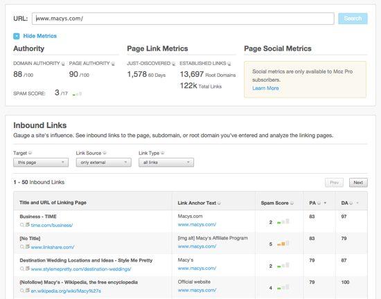 Open Site Explorer Macy's Screenshot