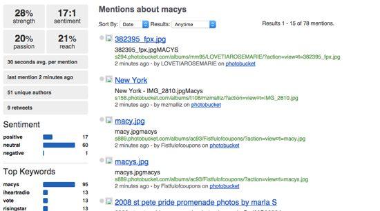 Socialmention Screenshot - Macys mentions