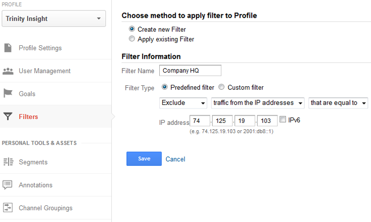 Create filters within the admin panel of Google Analytics