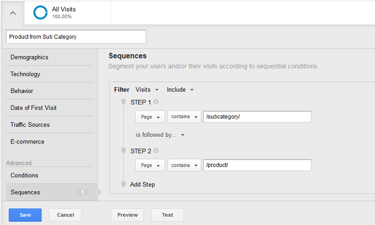 Creating a sequential segment within Google Analytics