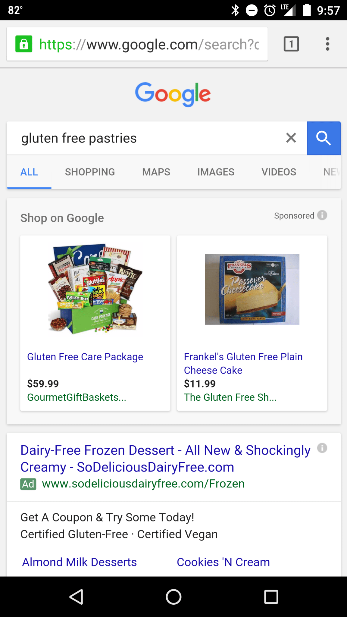 gluten free pastries search
