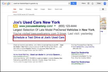 Example of how dynamic sitelinks will be displayed in desktop SERps