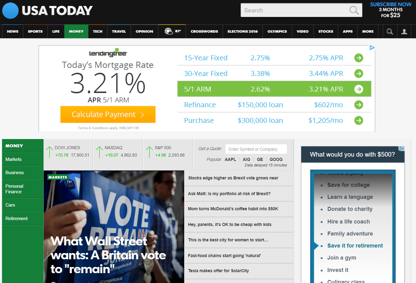 usatoday with ads